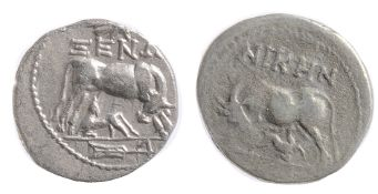 Illyria Silver Drachm. Circa 229-100 BCcow standing right, looking back at suckling calf standing