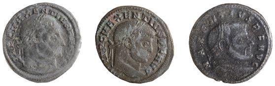 Maxentius AE FollisOstia, Struck 309-312 ADIMP C MAXENTIVS P F AVG: Head of Maxentius, laureate,