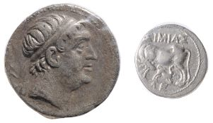 Baktria, Euthydemos I Silver Tetradrachmc. 225-195 BC. Diademed middle-aged head right / Herakles