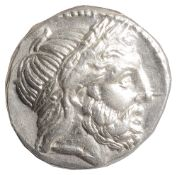 Philip II Macedon Tetradrachmc. 359-336 BCHead of Zeus, laureate, profile to right. Border of dots /