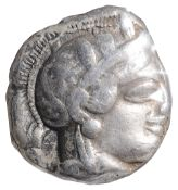 Athens, Silver Tetradrachm, After 449 BC.Helmeted head of Athena facing right / AOE, Owl standing