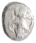 Lydia Silver Siglosc. 450-330 BC.The Great King kneeling right, holding spear and bow / Oblong