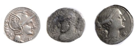 L. Flaminius Chilo Silver Denarius109-108 BCHelmeted head of Roma, right, ROMA behind / Victory,