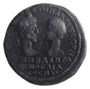 Macrinus and Diadumenian AE27Marcianopolis, Struck 217-218 ADVT K M O??E? CEV? MAKPINOC K M O??E??