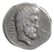 L. Titurius Sabinus Silver Denarius89 BCSABIN; bareheaded bearded head of king Tatius to the right /