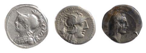 P. Servilius M.f. Rullus Silver Denarius100 BCHelmeted bust of Minerva left, wearing aegis; RVLLI