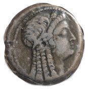 Cleopatra VI AE27c. 60 BCBust to right / Eagle standing left on thunderboltDiameter 25