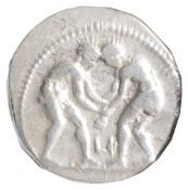 Pamphylia Silver Staterc. 380-330 BC.Two wrestlers grappling; LO between / Slinger in throwing