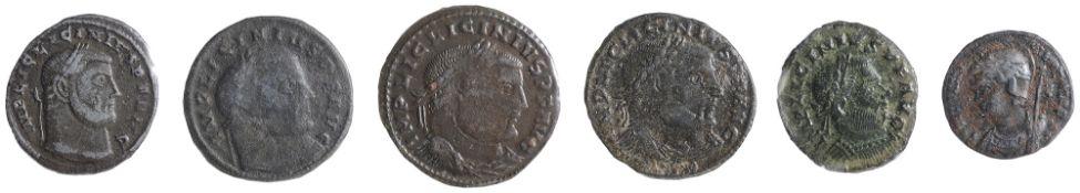 2 x Licinius AE FollesSiscia, Struck 313-315 ADIMP LICINIVS P F AVG: Head of Licinius, laureate,