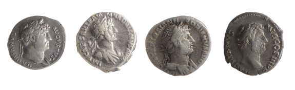 Four early 2nd century AD Imperial Roman silver denarii from the reign of Hadrianfirst Rome, AD