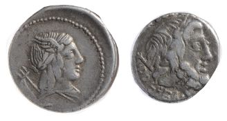 L. Julius Bursio Silver Denarius85 BClaureate, winged, and draped bust of Vejovis right; to left,