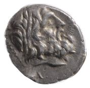 Thessalian League Silver Double Victoriatus196-146 BCLaureate head of Zeus right / Athena Itonia