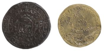 Spanish Netherlands Copper Jeton commemorating the 12 Years' Truce1609.Prince Maurice and Don