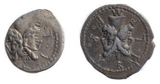 M. Furius L. F. Philus Silver Denariusc. 120 BCM FOVRI L F, laureate head of Janus / Roma standing