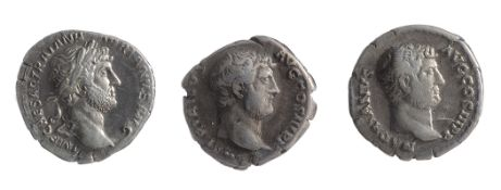 Three early 2nd century AD Imperial Roman silver denarii from the reign of Hadrianfirst Rome, 119-