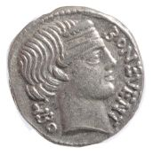 M. Nonius Sufenas Silver Denarius62 BCBON EVENT - LIBO; Diademed head of Bonus Eventus right, with