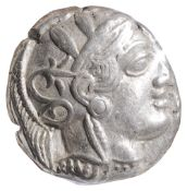 Athens, Silver Tetradrachm, c. 454-404 BC.Helmeted head of Athena facing right / AOE, Owl standing
