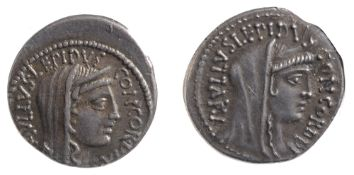 L. Aemilius Lepidus Paulus Silver Denarius62 BC.Veiled and diademed head of Concordia facing