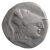 Asia Minor, Pamphylia Silver Teradrachm2nd century BCHead of Athena right, wearing crested