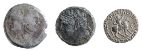Sicily, Sextus Pompey AE As c 42-38 BC Laureate janiform head of Pompey the Great / Prow of galley
