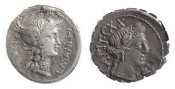 L. Manlius Torquatus Silver Denarius. Struck 82 BC. L MAN II Helmeted head of Roma right / Sulla
