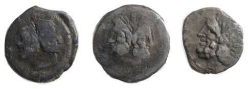 C Licinius Macer AE As84 BCLaureate head of Janus / EX S·C: Prow right; above, male figure holding