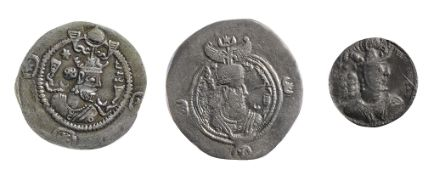 Kavad I Silver Drachm486-498 ADBust right, wearing mural crown with frontal crescent, two ribbons,