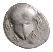 Thrace, Mesembria Silver Diobol. 450-350 BC. Crested Corinthian helmet facing / M-E-T-A within