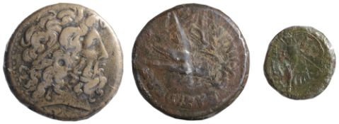 Ptolemy III Euergetes AE39.struck 245-222 BCHead of Zeus-Ammon right, wearing tainia / Eagle