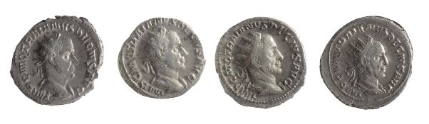 Four mid 3rd century AD Imperial Roman silver and Antoninianii from the reign of Trajan