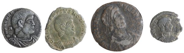 Magnentius Centenionalis AE2Ambianum, Struck 350-353 AD.D N MAGNEN-TIVS P F AVG: Bust of Magnentius,