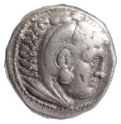 Alexander III Silver Tetradrachm320-290 BCHead of Herakles facing right, wearing a lion-skin