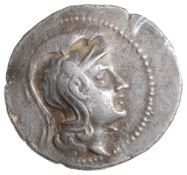 Athens Silver 'New Style' Tetradrachmc. 144-3 BCHead of Athena Parthenos right, wearing triple-