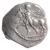Thessaly, Larissa Silver Drachm400-360 BCNaked youth wrestling bull by horns, left / Horse galloping