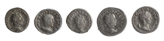 Five mid 3rd century AD Imperial Roman silver and silvered Antoninianii first Rome, 244-249 AD,