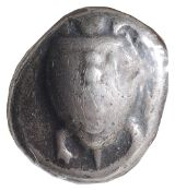 Islands off Attica, Aegina, Silver Stater,Struck c. 525-480 BC. Sea turtle, row of dots down its