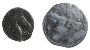 Sardinia AE Shekel (?)Sardinia, 3rd century BCWreathed head of Tanit left / Head of horse