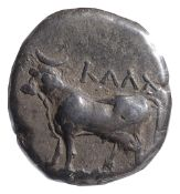 Bithynia, Kalchedon Silver drachmearly 4th century BCBull standing left on ear of coin with KAAX
