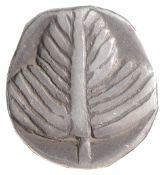 Sicily, Selinos, Silver Didrachm, Struck 540-510 BC.Selinon leaf / Incuse squareDiameter 21