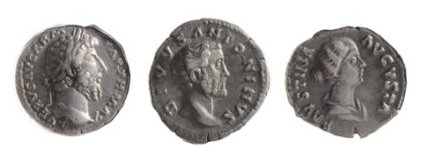 Three 2nd century AD Imperial Roman silver denarii first Lucius Verus, Rome, 161/162 AD L VERVS