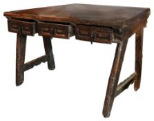 A 17th century Spanish walnut side table