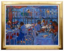 John Mackie (Scottish, b.1953)'Venetian restaurant', oil on canvas