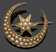 A Victorian split pearl star and crescent brooch