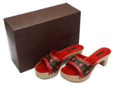 A pair of Louis Vuitton cherry blossom mules