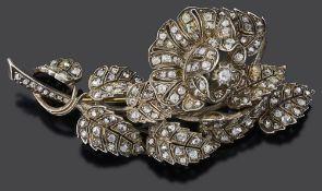 A large 19th Century en tremblant diamond set rose brooch