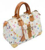 A Louis Vuitton speedy 30 bag in white multicoloured monogram canvas