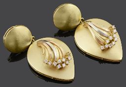 A pair of large Continental 18ct gold and diamond pendant earrings