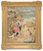 A mid 19th century needlework bibilcal tapestry depicting Ruth and Boaz