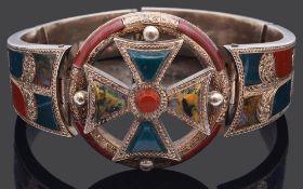 An attractive Victorian Scottish agate inlaid bracelet