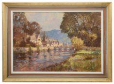 John Neale (English School, 20th Century) 'Fishing by the river'